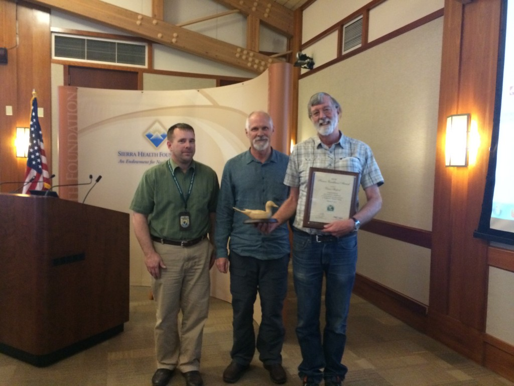 Dave Shuford (right) is presented the Science Excellence Award by Mike Dunphy (left), coordinator for the Central Valley Joint Venture, and John Carlon (middle), president of River Partners and Central Valley Joint Venture board member.